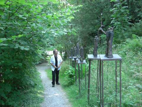 Bronze tableaux of Artists of the Silk Road at broomhill Sculpture Gardens, North Devon