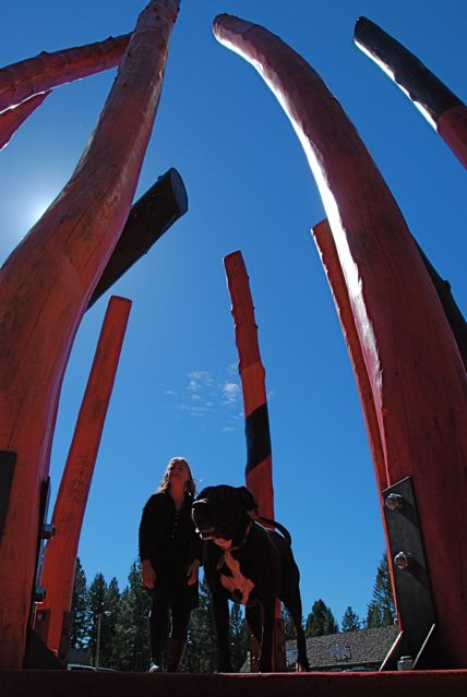 Reba and I inside Log Henge Spirits of the Forest