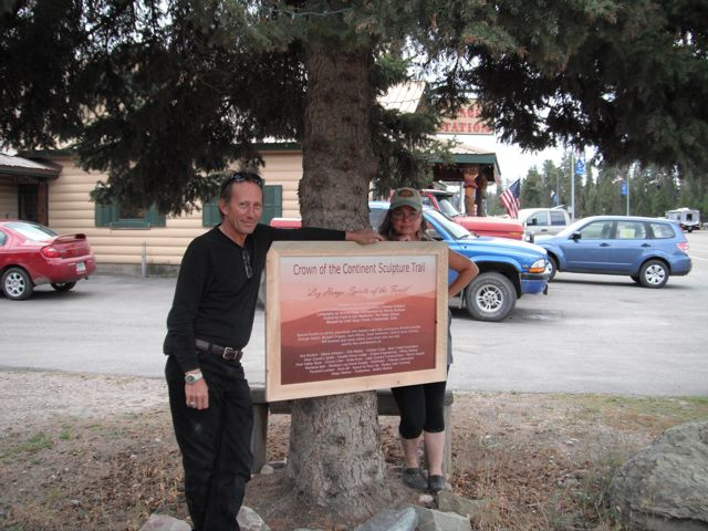 Proud artist Laury Dizengremel with husband, videographer Joe Caneen who also helped with logistics on the artwork, posing next to the nearby plaque