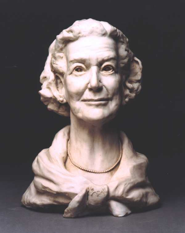 Front view of sculpture portrait of Mrs Margaret Lomas commissioned by one of her sons