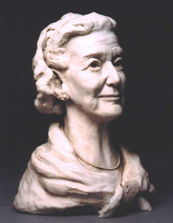 Three quarter profile view of bust of Mrs Margaret Lomas