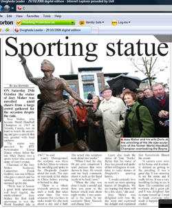 Aother article in the Dogheda Leader about the unveiling of the Joey Maher sculpture commission by sport sculptor Laury Dizengremel