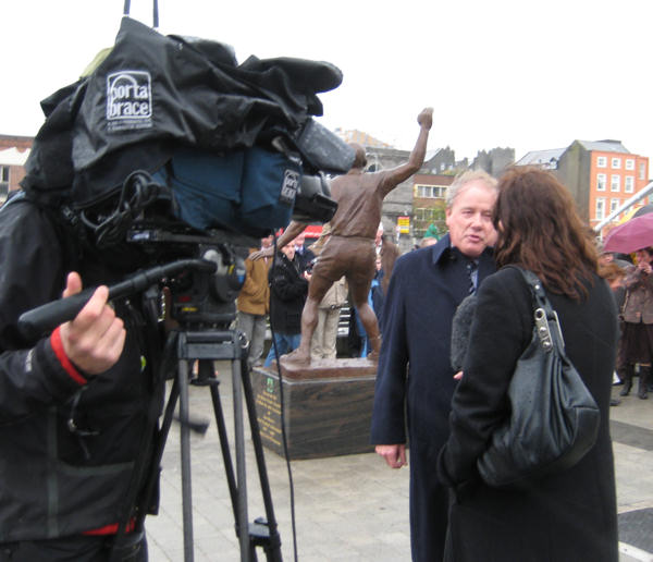 Former town councillor Frank Godfrey - the committee chairman, being interviewed by national Irish television RTE