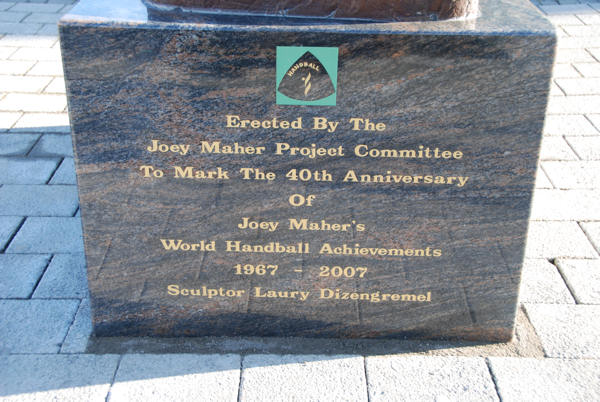 Inscription on the base of the Joey Maher lifesize sports sculpture