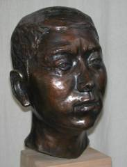 cold cast bronze bust of Chinese Photographer - also available in bronze metal