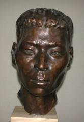 cold cast bronze bust of Chinese Worker I - also available in bronze metal