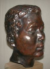 cold cast bronze bust of Chinese Worker II - also available in bronze metal