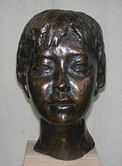 cold cast bronze bust of Chinese Young Girl - also available in bronze metal