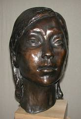 cold cast bronze bust of Chinese Young Woman - also available in bronze metal