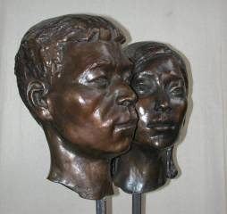 cold cast bronze bust of Chinese Couple - also available in bronze metal