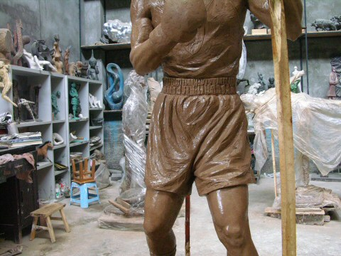Focusing on the shorts - Tony was sent pictures of the sculpture as it progressed and wanted them made shorter!