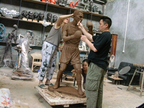 Working on the original lifesize clay sculpture