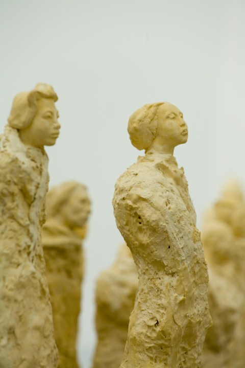 Sculpture installation view of Artists of the Silk Road statues