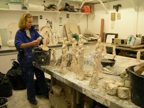 Making the small sculptures in the sculpture studio