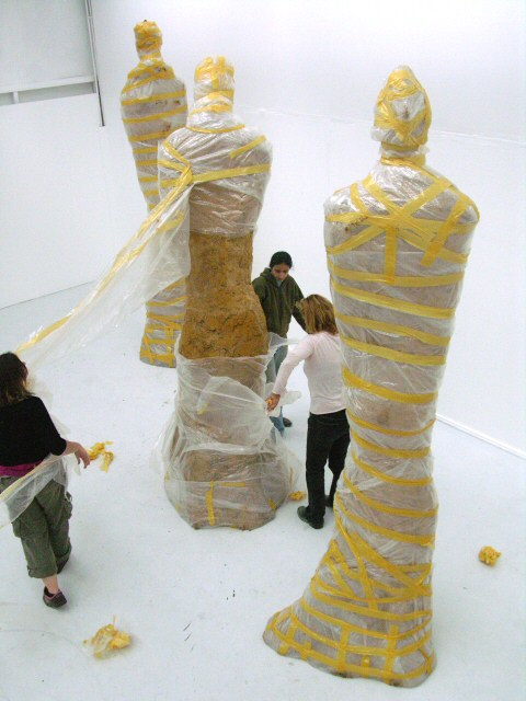 Unwrapping a monumental sculpture in my exhibition studio at UCCA