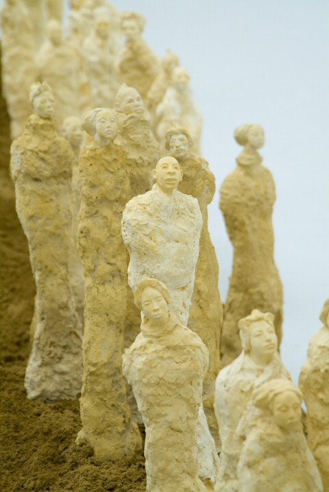 A different view of the small statues in  sculpture installation