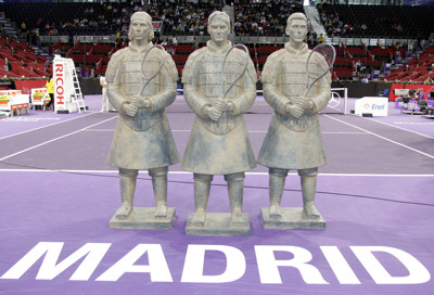 Unveiling center court of Roger Federer, Rafael Nadal and Novak Djokovic tennis terracotta warrior statues